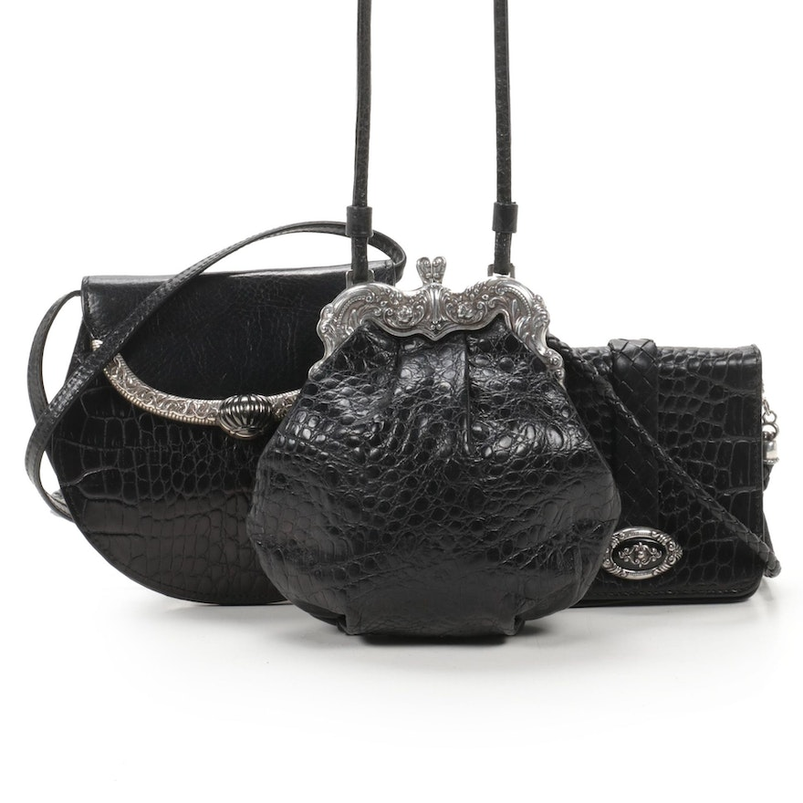 Brighton Crocodile Embossed Leather Crossbody Wallet Clutches