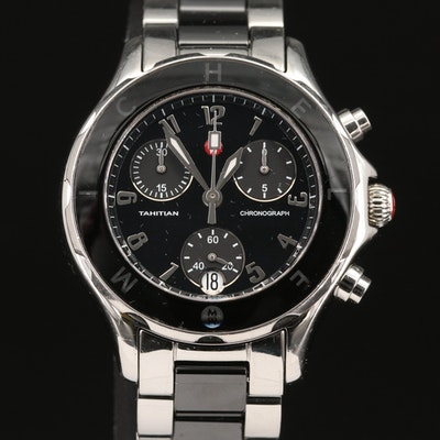 Michele Tahitian Chronograph Stainless Steel and Ceramic Quartz Wristwatch
