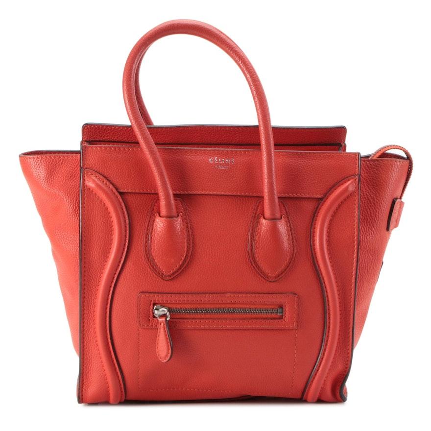 Céline Micro Luggage Tote in Coquelicot Bullhide Calf Leather
