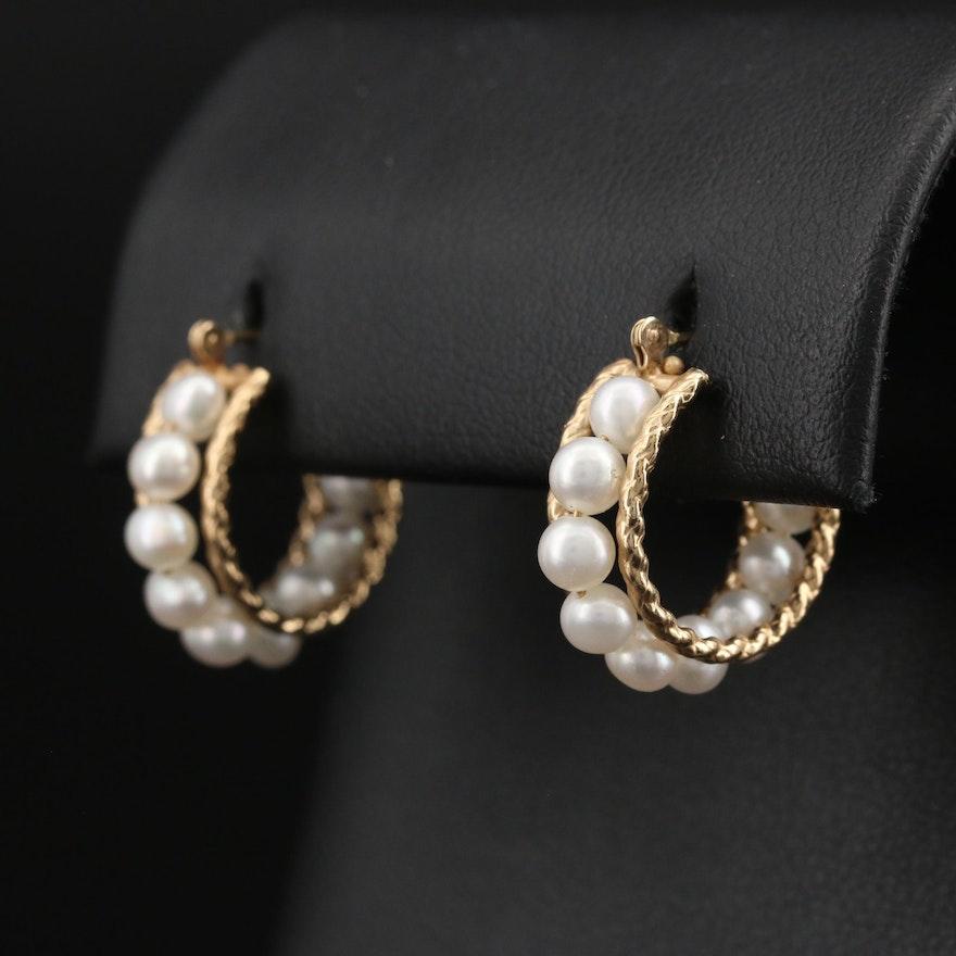 10K Pearl Hoop Earrings