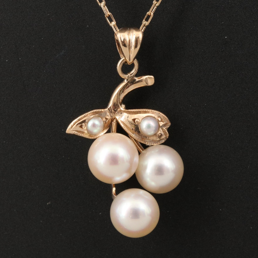 14K Pearl Grape Cluster Pendant Necklace