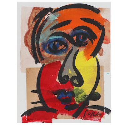 Peter Keil Abstract Acrylic Portrait Painting with Collage, Late 20th Century