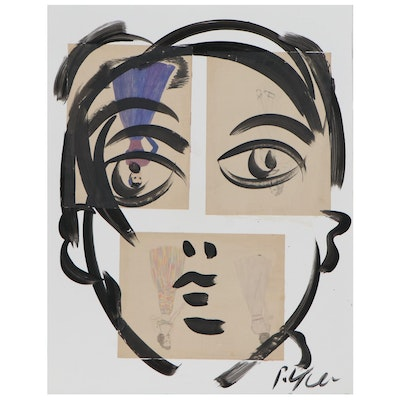 Peter Keil Abstract Portrait Acrylic Painting with Collage, Late 20th Century