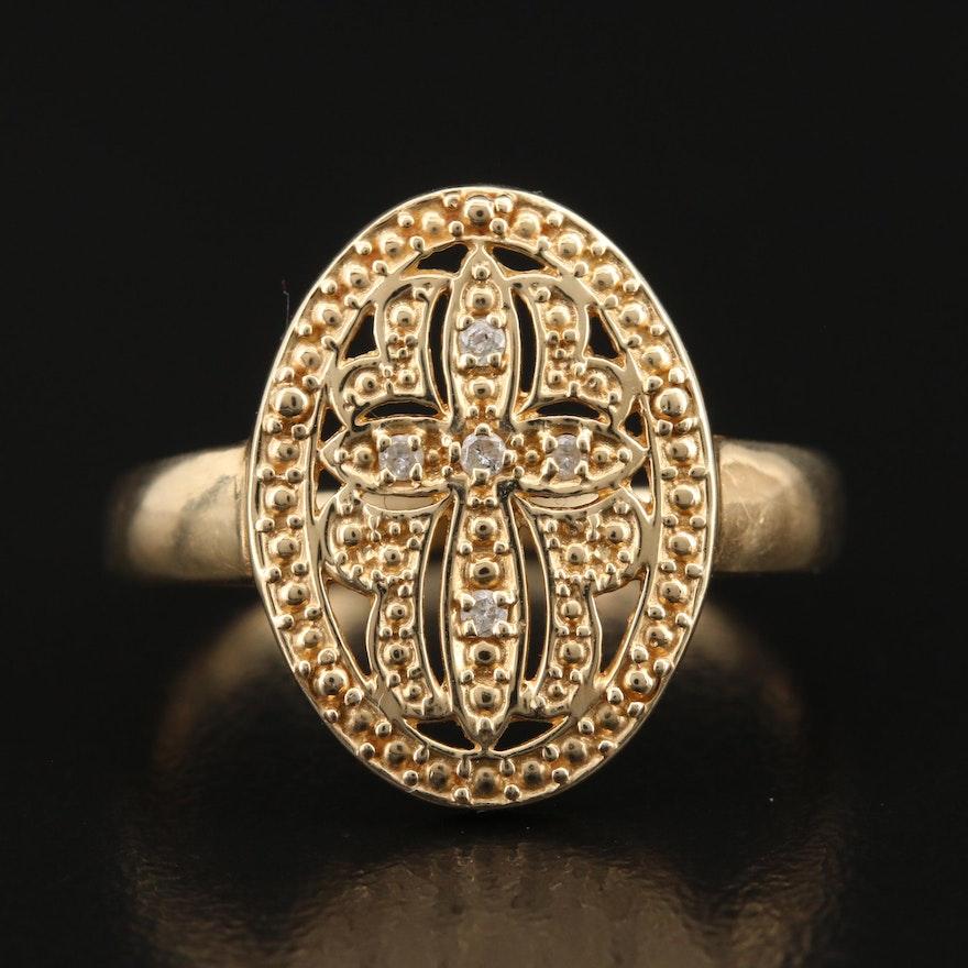 14K Diamond Openwork Cross Ring