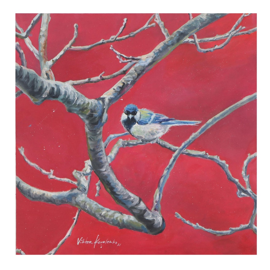 Oil Painting of Great Tit Perched on a Branch, 2021