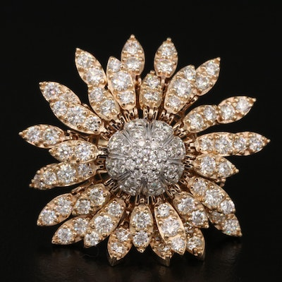 EFFY 14K 2.83 CTW Diamond Articulated Sunflower Ring
