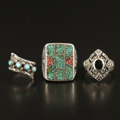 Sterling Rings Including Western Style, Turquoise, Black Onyx and Marcasite