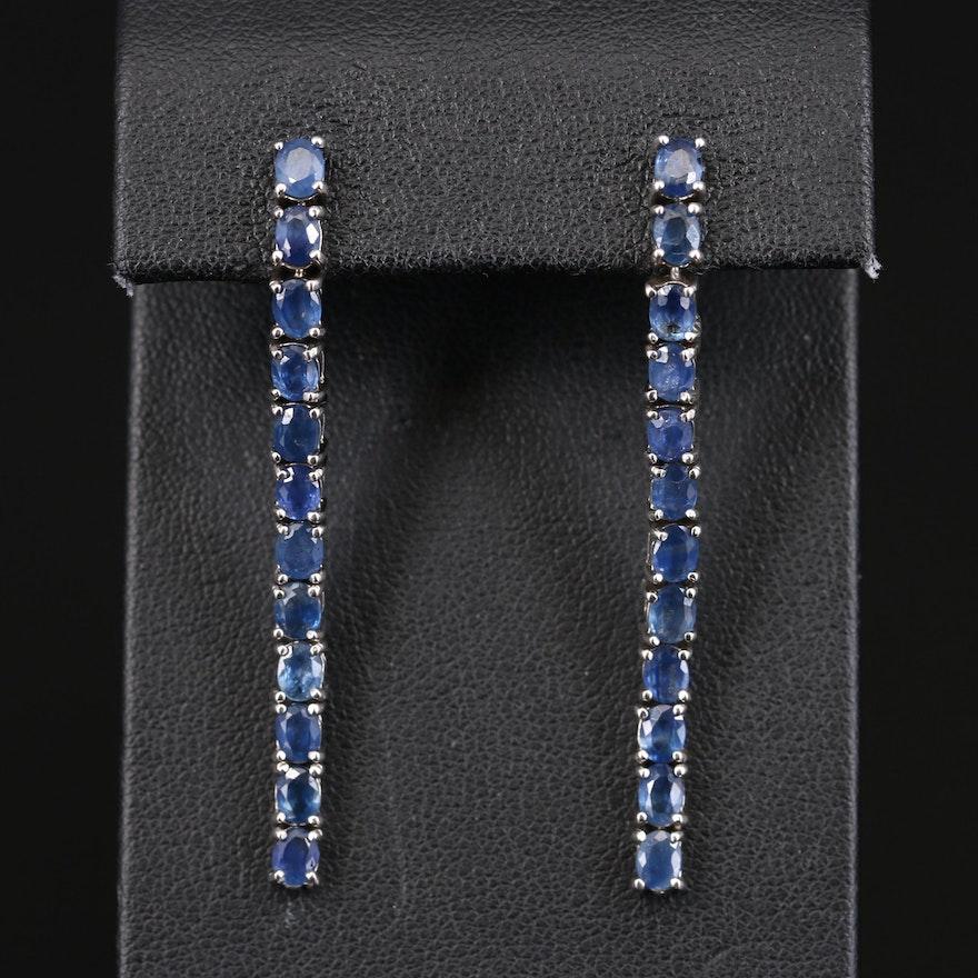 Sterling Sapphire Line Earrings
