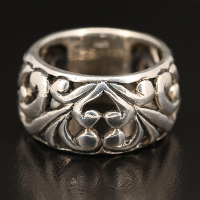 Sterling Open Scrollwork Wide Band
