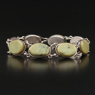 Circa 1970s Irish Sterling Connemara Marble Link Bracelet