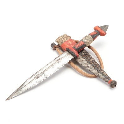 Tuareg Style Toubou Dagger with Snakeskin Scabbard, North Africa