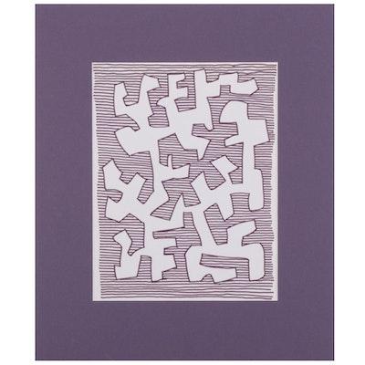 W. Glen Davis Linear Abstract Ink Drawing