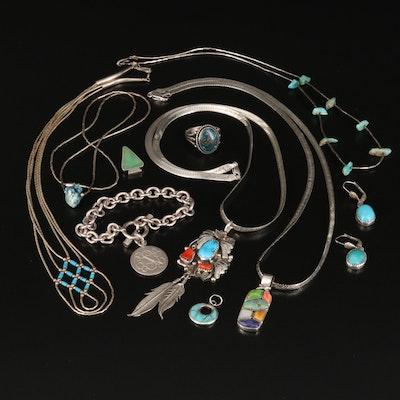 Edison and Laurenda Bobelu Zuni Pendant and other Southwestern Style Jewelry