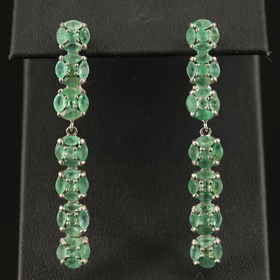 Sterling Emerald Drop Earrings