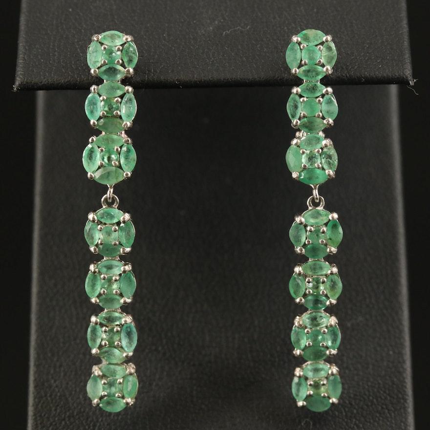 Sterling Emerald Drop Earrings