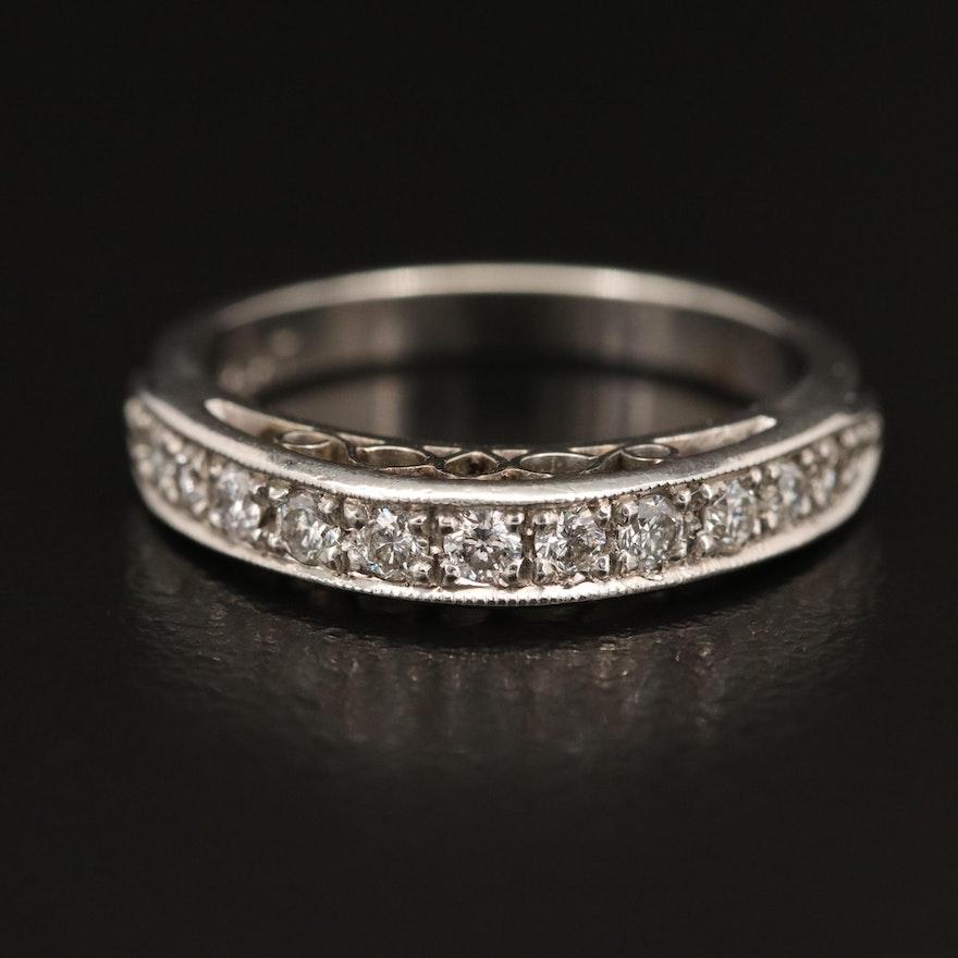Platinum Diamond Ring with Milgrain Details