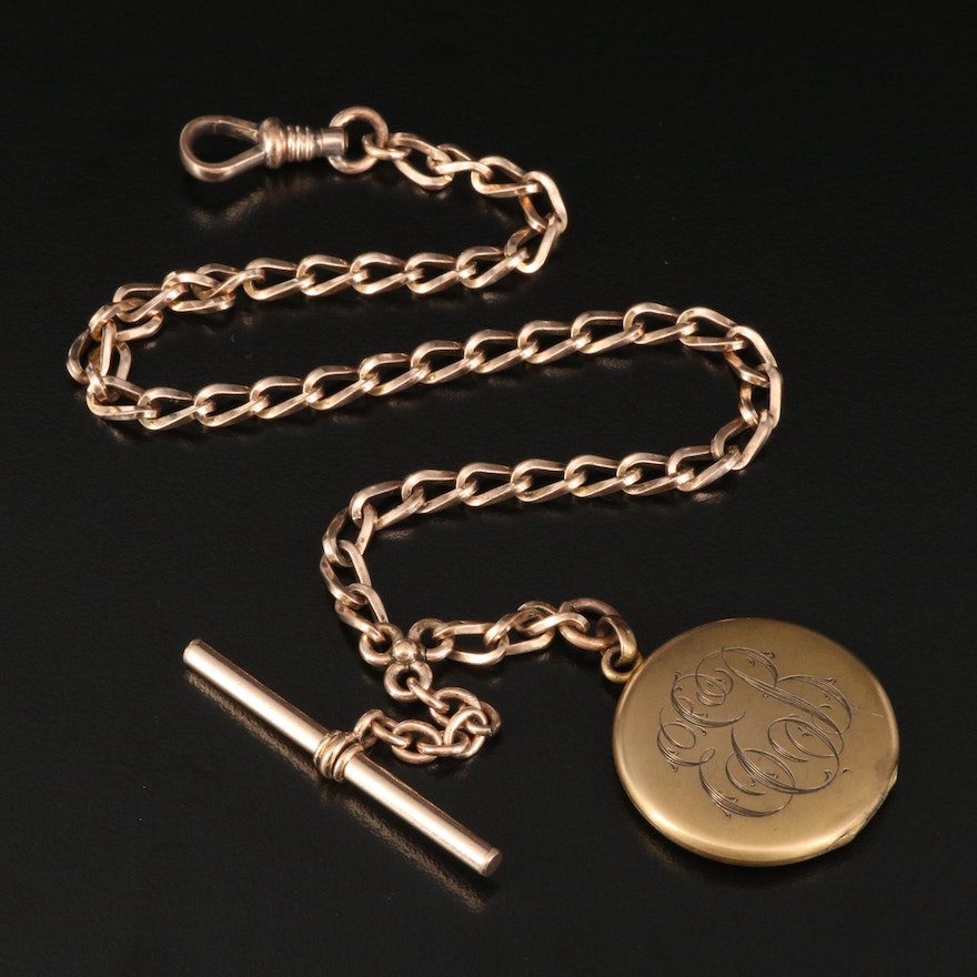 Antique Bates & Bacon Watch Fob Chain with Monogrammed Locket