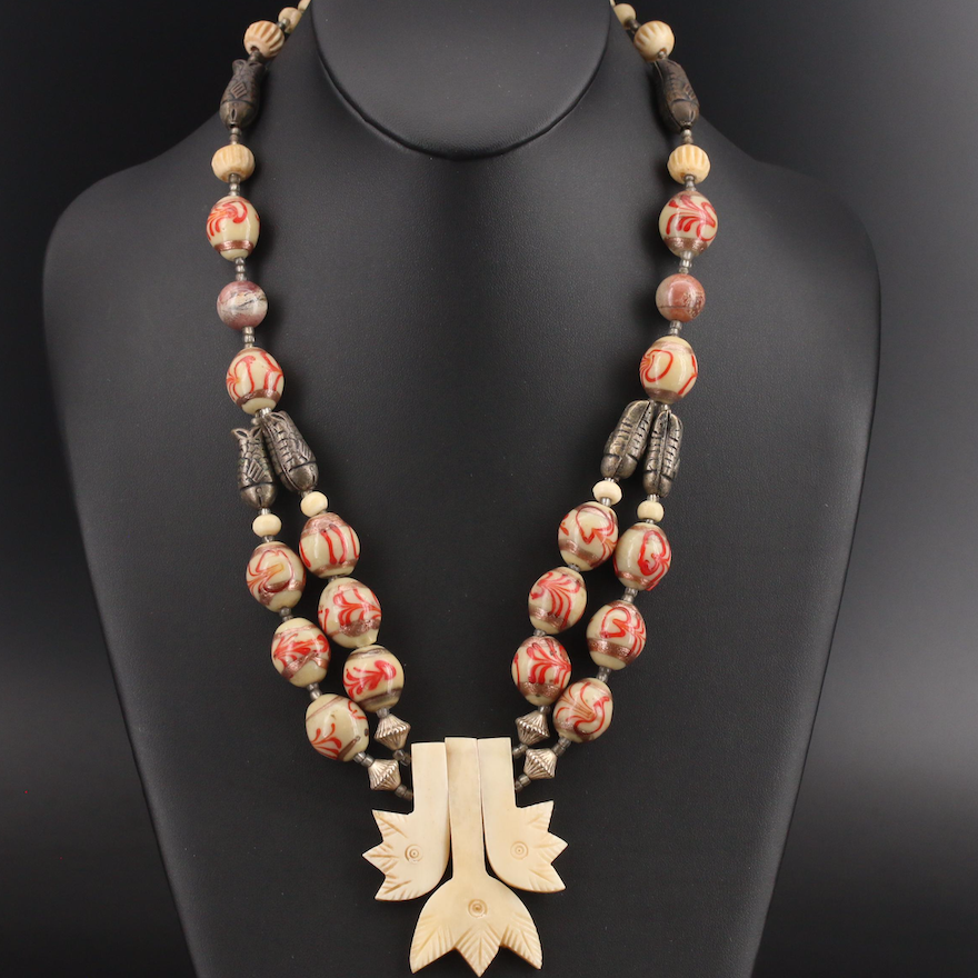 Bone and Glass Necklace