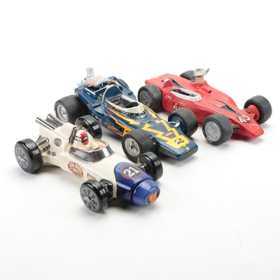 Ezra Brooks and Other Indianapolis 500 Decanters Including Johnny Lightning Car