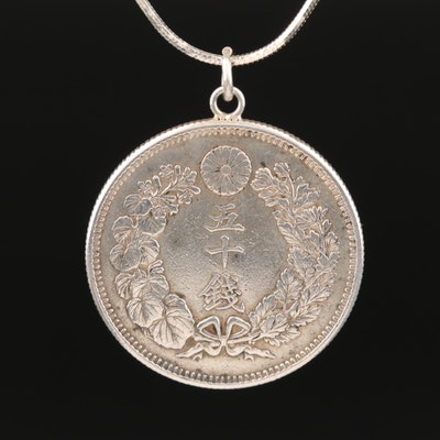 Japanese Coin Pendant on Sterling Silver Snake Chain