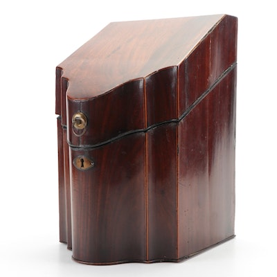 Hepplewhite Mahogany Slant Front Knife Box with Star Inlay, Antique