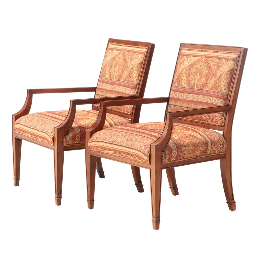 Pair of Fairfield Directoire Style Upholstered Beech Fauteuils