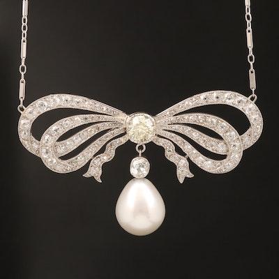 Platinum 3.85 CTW Diamond and Pearl Pendant on 14K Chain