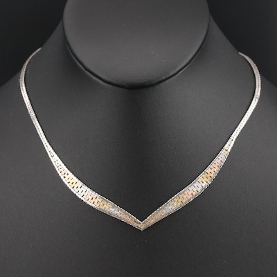 Italian Sterling Chevron Necklace