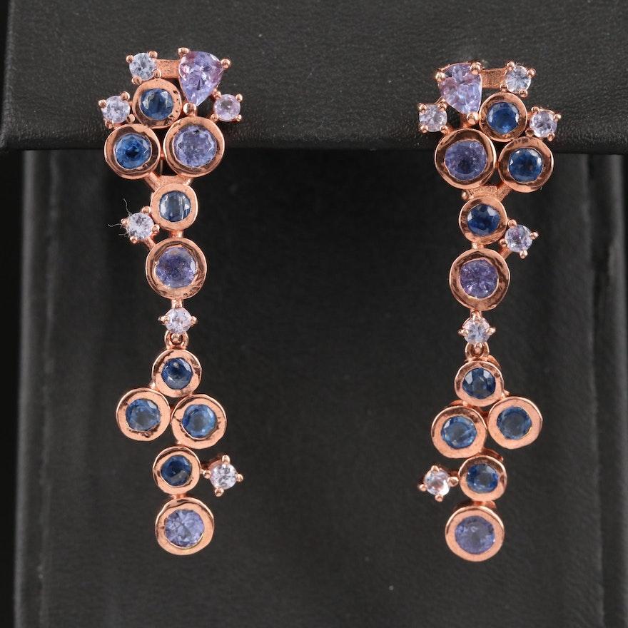 Sterling Silver Kyanite and Tanzanite Earrings