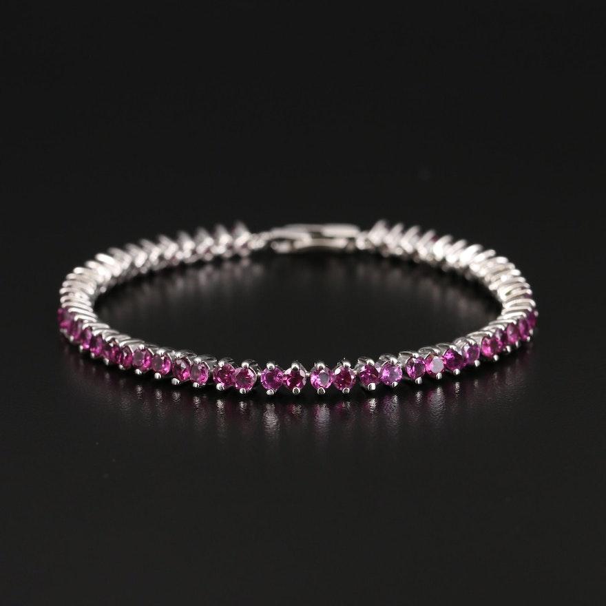 Sterling Rhodolite Garnet Link Bracelet