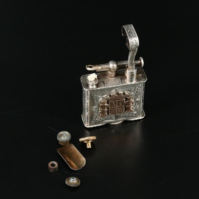 Chased Mexican Sterling Silver Table Lighter