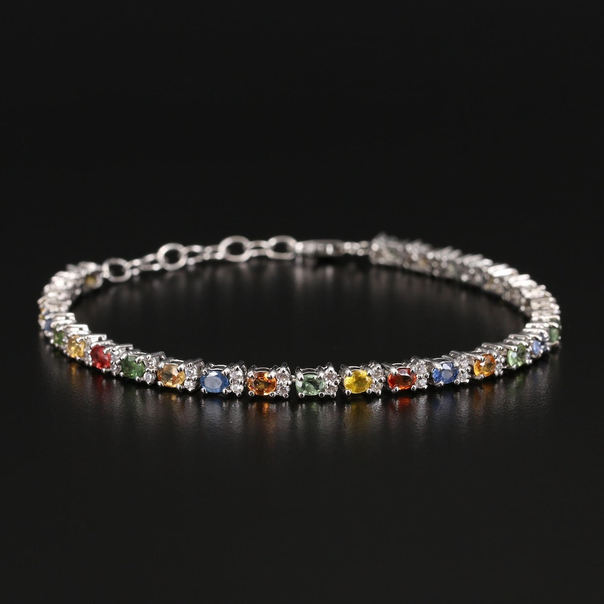 Sterling Sapphire and Cubic Zirconia Link Bracelet