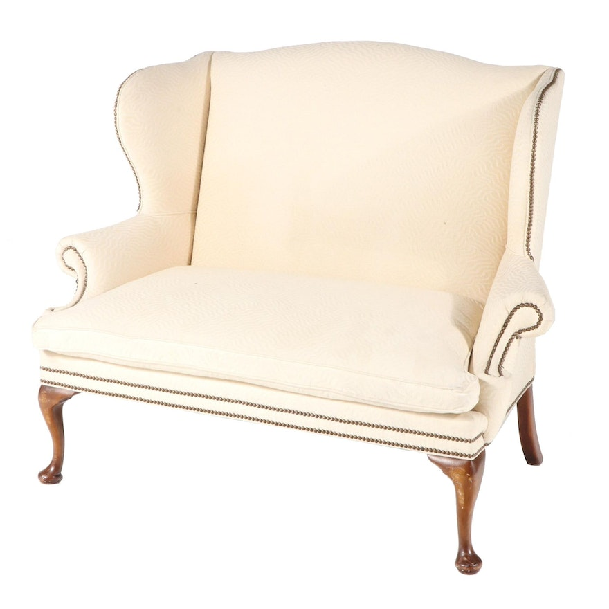 Ralph Lauren Queen Anne Style Wing Back Settee, Late 20th Century
