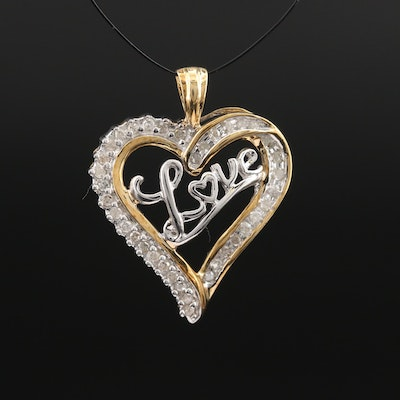 "10K Diamond ""Love"" Heart Pendant"