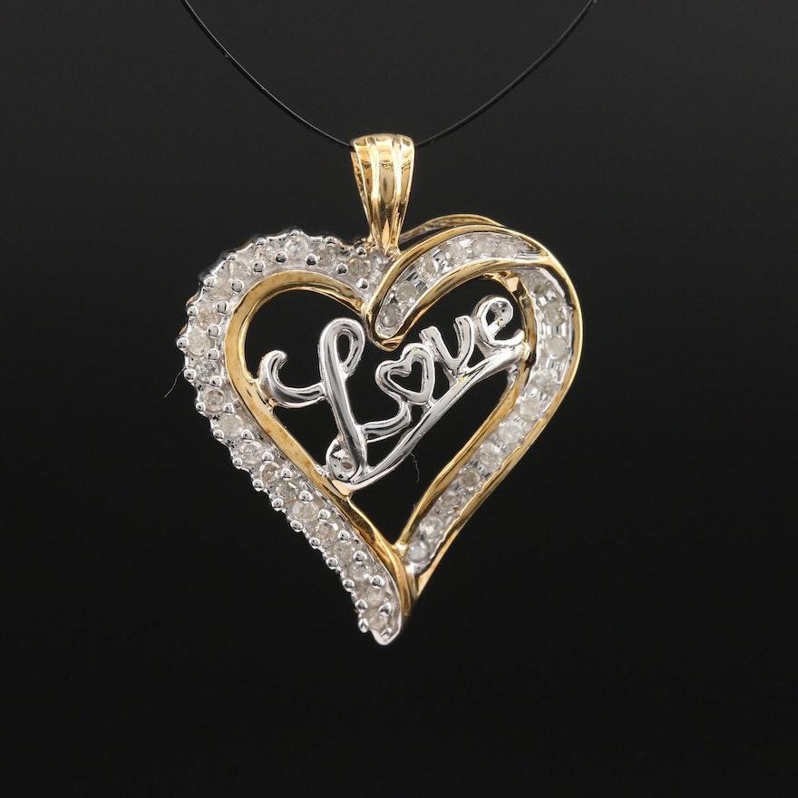 "10K Diamond ""Love"" Heart Pendant"