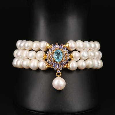 Sterling Topaz, Tanzanite and Pearl Multi-Strand Bracelet