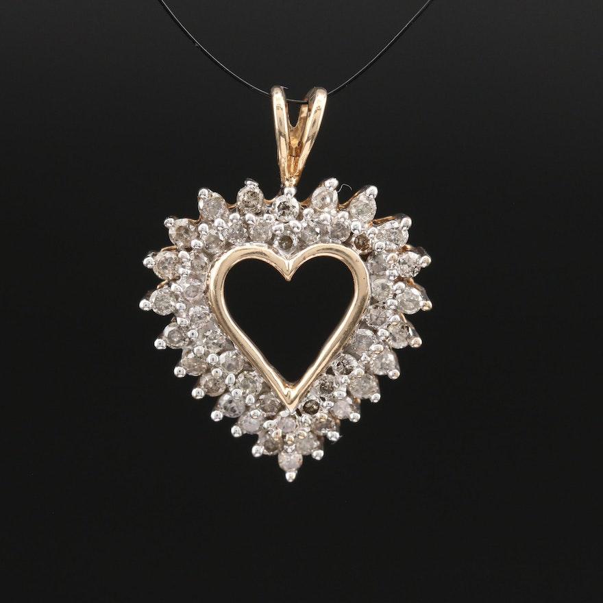 10K 1.00 CTW Diamond Heart Pendant