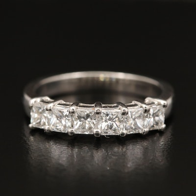 Platinum 1.20 CTW Six Stone Diamond Ring
