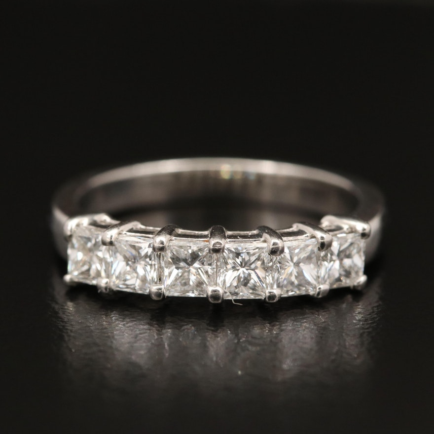 Platinum 1.20 CTW Six Stone Diamond Ring
