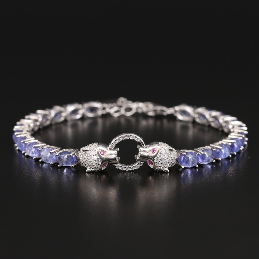Sterling Double Feline Bracelet with Tanzanite, Ruby and Cubic Zirconia