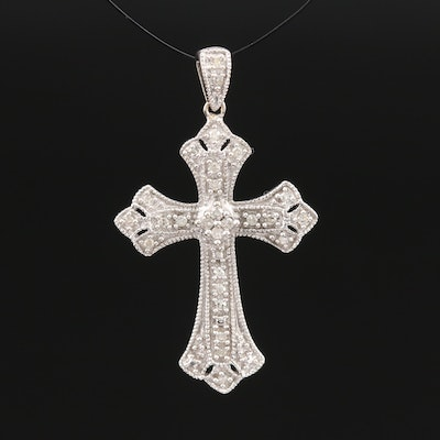 10K Diamond Milgrain Cross Pendant