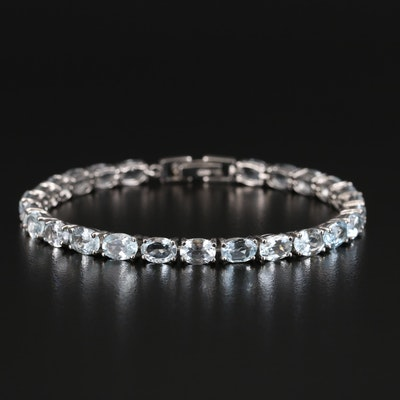 Sterling Aquamarine and Topaz Line Bracelet