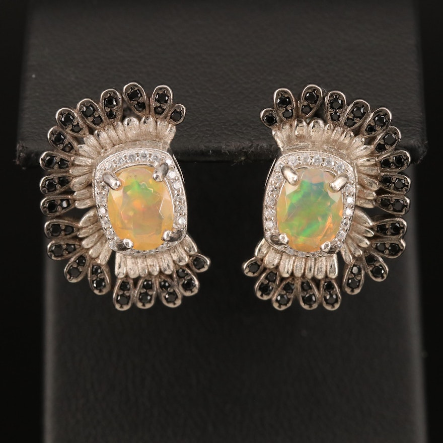 Sterling Opal, Spinel and Cubic Zirconia Earrings