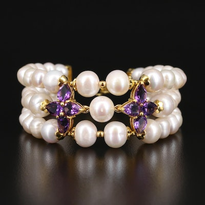 Sterling Pearl and Amethyst Multi-Strand Bracelet