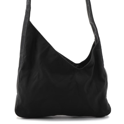 Prada Asymmetrical Black Tessuto Nylon Hobo Bag