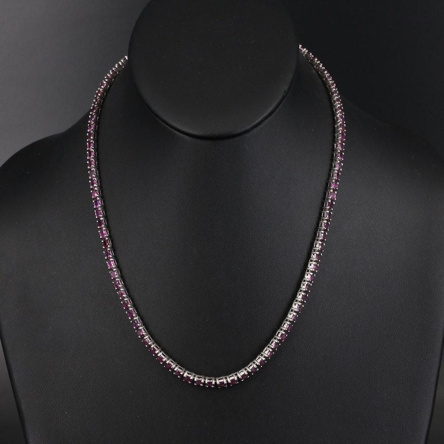 Sterling Rhodolite Garnet Line Necklace