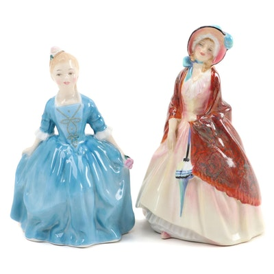 """Royal Doulton """"A Child From Williamsburg"""" and """"Paisley Shawl"""" Figurines"""