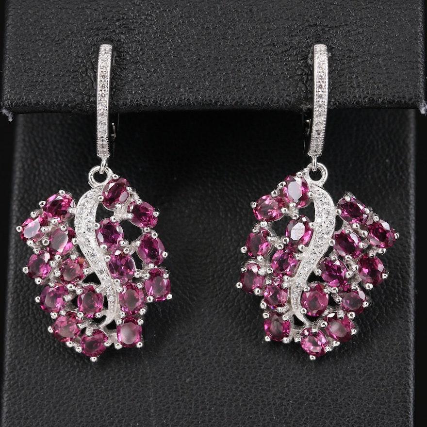 Sterling Grape Cluster Earrings with Rhodolite Garnet and Cubic Zirconia