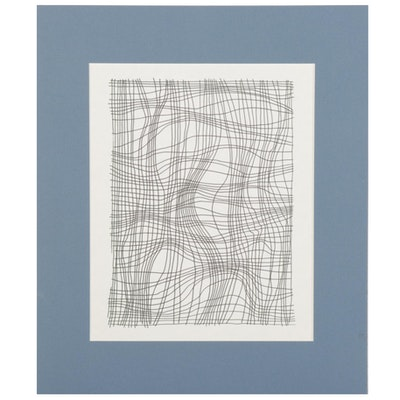 W. Glen Davis Op Art Style Ink Drawing