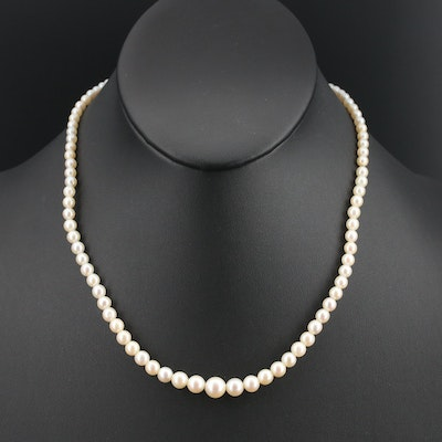Graduated Pearl Necklace with 14K Clasp